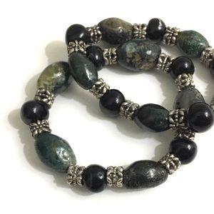 Jewelry - 2 Boho Green & Black Glass Bead Bracelets